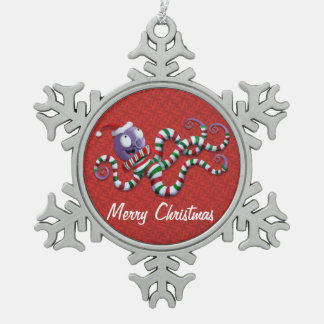 Poulpe de Noël avec des rayures Ornements