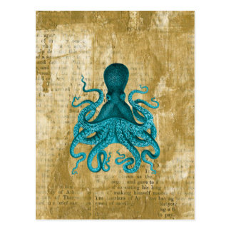 Poulpe de turquoise sur la grunge d'or carte postale