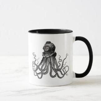 Poulpe et casque de plongée mug