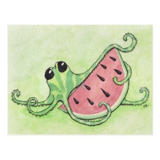 Poulpe et pastèque carte postale
