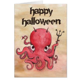 Poulpe Halloween de diable Carte De Vœux
