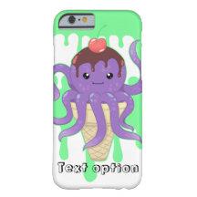 Poulpe mignon de pourpre de crème glacée de kawaii coque barely there iPhone 6
