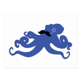poulpe mustached avec une carte postale de monocle