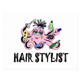 Poulpe noir et rose de coiffeur cartes postales