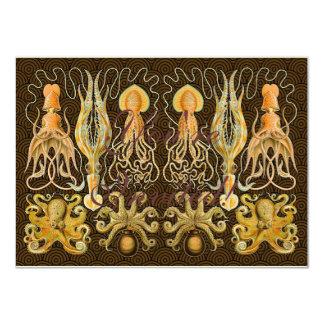 Poulpe vintage de calmar de céphalopodes carton d'invitation  11,43 cm x 15,87 cm