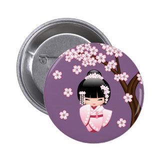 Poupée blanche de Kokeshi de kimono - fille de Badge