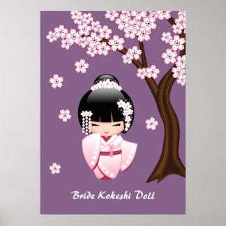 Poupée blanche de Kokeshi de kimono - fille de Poster