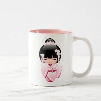 Poupée blanche de Kokeshi de kimono - fille de Tasse 2 Couleurs