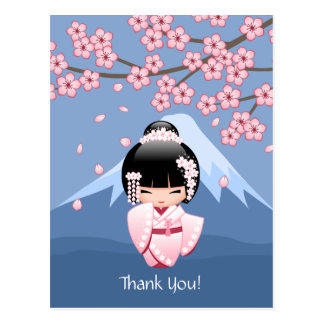 Poupée blanche de Kokeshi de kimono - Merci mignon Carte Postale