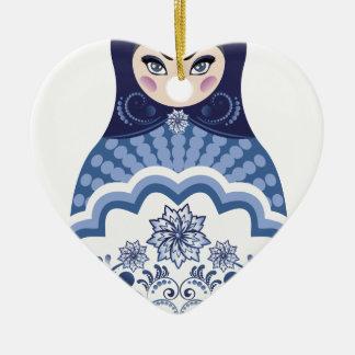 Poupée bleue de Matryoshka Ornement Cœur En Céramique