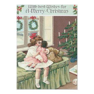 Poupée de fille de présent d'arbre de matin de carton d'invitation  12,7 cm x 17,78 cm