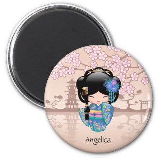 Poupée de Keiko Kokeshi - fille de geisha bleue de Magnet Rond 8 Cm