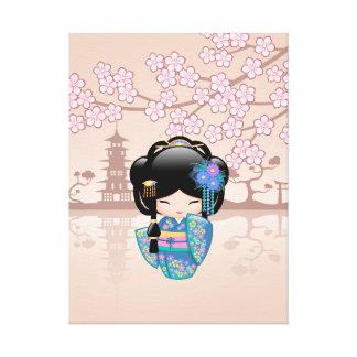Poupée de Keiko Kokeshi - fille de geisha bleue de Toiles