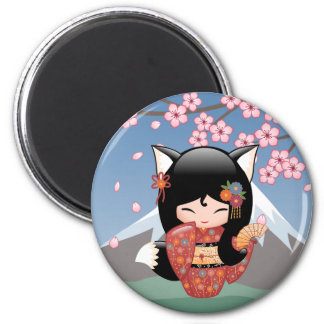 Poupée de Kitsune Kokeshi - fille de geisha de Fox Magnet Rond 8 Cm