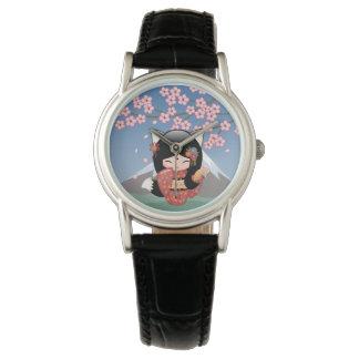 Poupée de Kitsune Kokeshi - fille de geisha de Fox Montres Bracelet