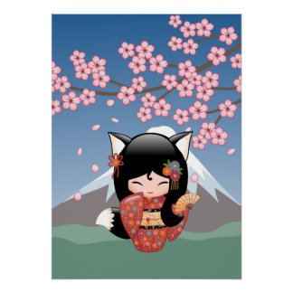 Poupée de Kitsune Kokeshi - fille de geisha de Fox Posters
