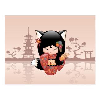 Poupée de Kitsune Kokeshi - fille mignonne de Fox Carte Postale