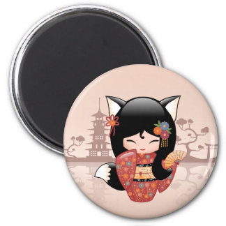 Poupée de Kitsune Kokeshi - fille mignonne de Fox Magnet Rond 8 Cm