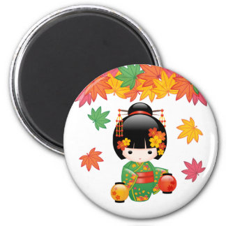 Poupée de Kokeshi de chute - fille de geisha verte Magnet Rond 8 Cm
