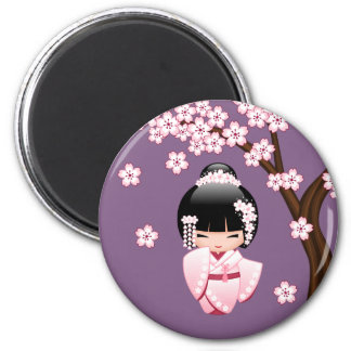 Poupée de Kokeshi de jeune mariée - fille de Magnet Rond 8 Cm