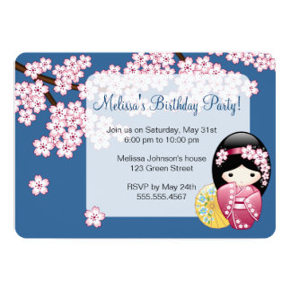 Poupée de Kokeshi de ressort - fête d'anniversaire Carton D'invitation 12,7 Cm X 17,78 Cm