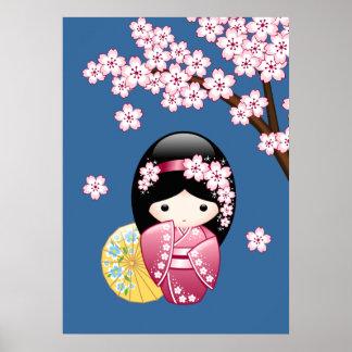 Poupée de Kokeshi de ressort - geisha japonais Poster