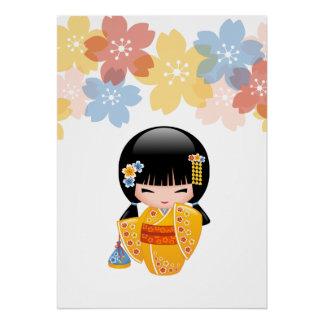 Poupée de Kokeshi d'été - fille de geisha jaune de Posters