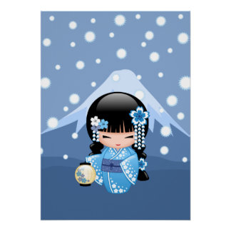 Poupée de Kokeshi d'hiver - fille de geisha bleue Posters