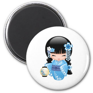 Poupée de Kokeshi d'hiver - fille de geisha Magnet Rond 8 Cm
