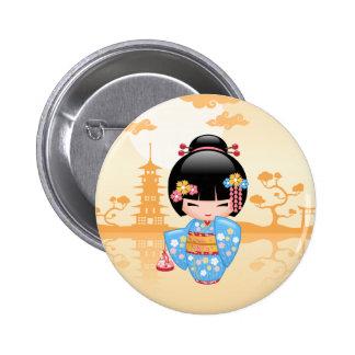 Poupée de Maiko Kokeshi - fille de geisha Badge Rond 5 Cm