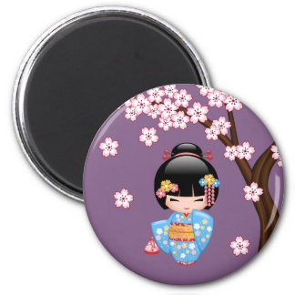 Poupée de Maiko Kokeshi - fille de geisha bleue de Magnet Rond 8 Cm