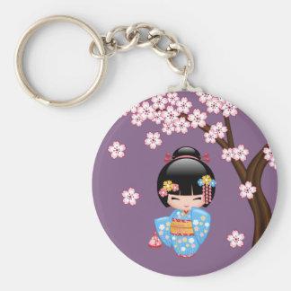 Poupée de Maiko Kokeshi - fille de geisha bleue de Porte-clé Rond