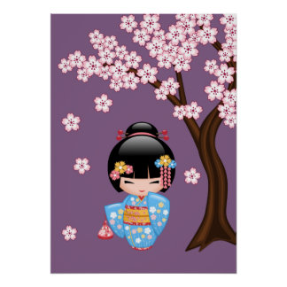 Poupée de Maiko Kokeshi - fille de geisha bleue de Posters