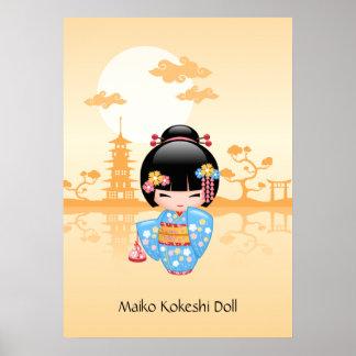 Poupée de Maiko Kokeshi - fille de geisha Posters