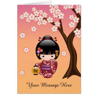 Poupée de Sakura Kokeshi - fille de geisha sur la Carte De Vœux
