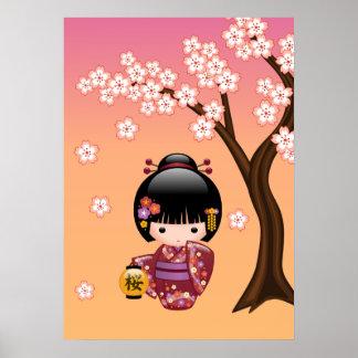 Poupée de Sakura Kokeshi - fille de geisha sur la Posters