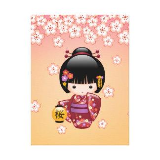 Poupée de Sakura Kokeshi - fille de geisha sur la Toiles