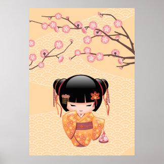 Poupée d'Ume Kokeshi - fille de geisha japonaise Posters