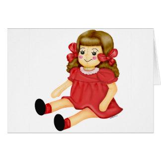 Poupée en rouge cartes de vœux