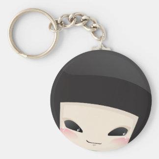 Poupée japonaise de geisha - porte - clé de visage porte-clé rond