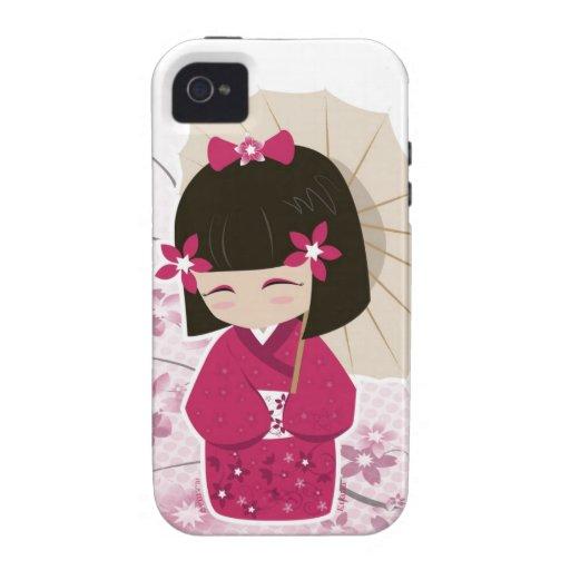 Poupée mignonne de Sakura Kokeshi Coque Case-Mate iPhone 4