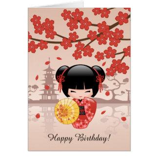 Poupée rouge de Sakura Kokeshi, anniversaire Carte De Vœux