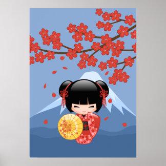 Poupée rouge de Sakura Kokeshi - fille de geisha Posters
