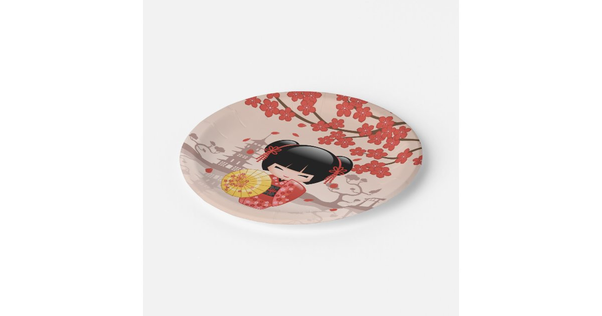 poup e rouge de sakura kokeshi geisha japonais assiette en papier 17 8 cm zazzle. Black Bedroom Furniture Sets. Home Design Ideas