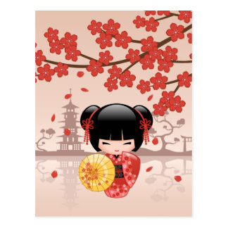 Poupée rouge de Sakura Kokeshi - geisha japonais Carte Postale