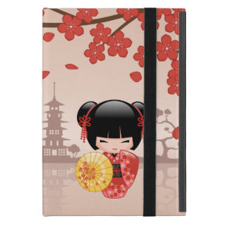 Poupée rouge de Sakura Kokeshi - geisha japonais Protection iPad Mini
