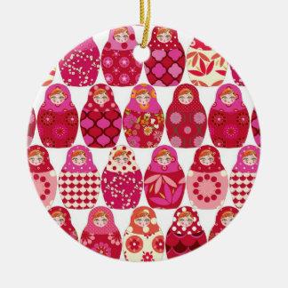 poupée russe rose ornement rond en céramique