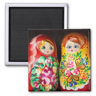 Poupées colorées de Matryoshka Magnet Carré