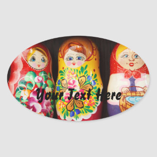 Poupées colorées de Matryoshka Sticker Ovale