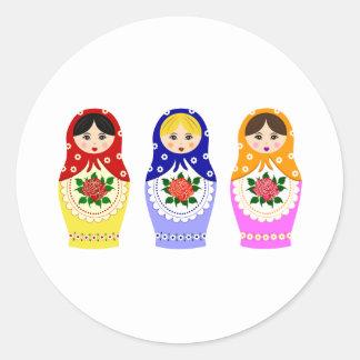 Poupées de Matryoschka Sticker Rond